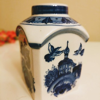 Possibly Russian white porcelain bottle or jug white and blue - Bottles