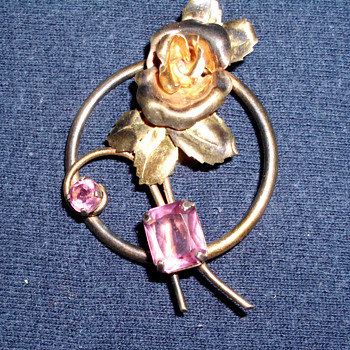 Art Deco Rose Brooch with Garnets or Amethysts late 20's or early 30's