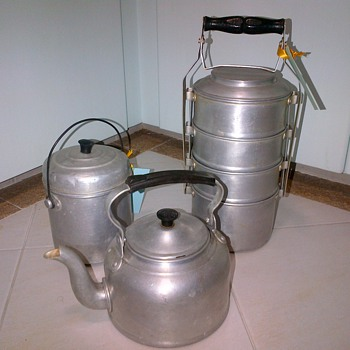 Aluminium ware - kettle, tiffin carrier and food takeaway container - Kitchen