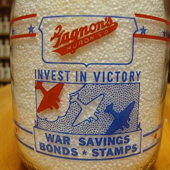 GAGNON DAIRY...HURON SOUTH DAKOTA...2 sided war slogan quart milk bottle - Bottles
