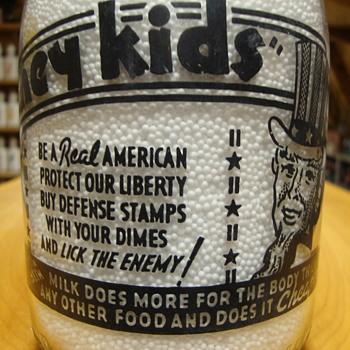 Unusual War Slogan Milk Bottles #3........