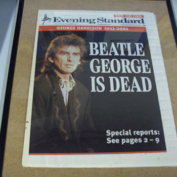 George Harrison newspaper-2001 - Music Memorabilia