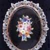 Micro Mosaic flower pendant brooch set in wonderful gold and silver with little rose cut diamonds.