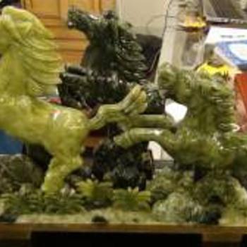 Jade 3 Horses Center Piece - Asian
