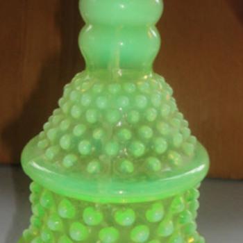 Hobnail Opalescent Vaseline Glass Lamp - Lamps