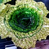 Beautiful green glass cabbage plates