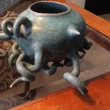 Aqua Tentacle Pottery Planter - Pottery