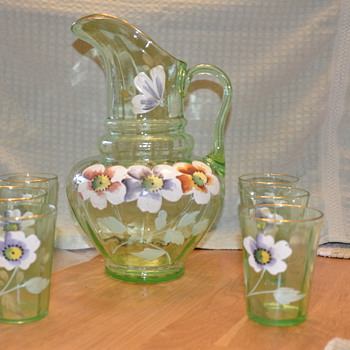 Green handpainted pitcher and glasses - Glassware