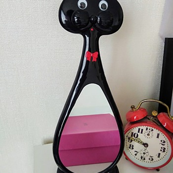 Google-eyed Cat Mirror - 1980's - Furniture