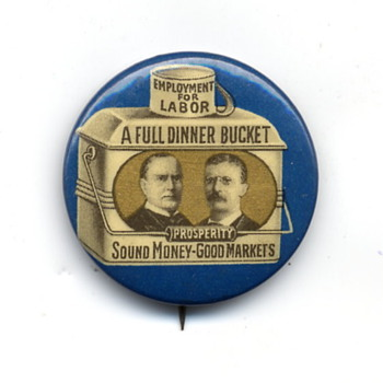Two Presidential Campaign Pins from 1900 and 1924.