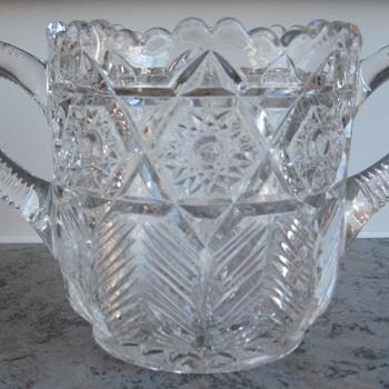 antique handled  sugar bowl  - Glassware