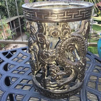 Chinese bronze brush pot two dragons - Asian
