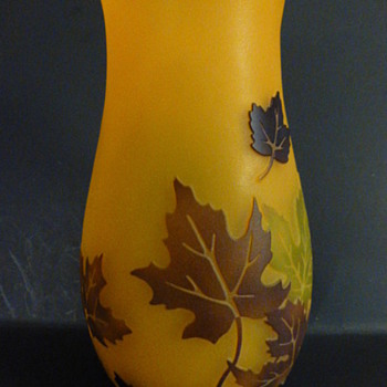 "Teleflora ""Leaves of Fall"" Gallé Style Cameo Vase (maple leaves) - Art Glass"