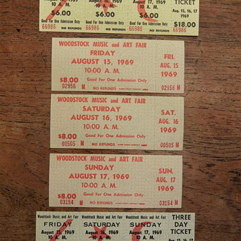 Woodstock 1969, Tickets, Complete Set