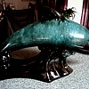 Large Blue Mountain Pottery Dolphin Figure / Green and Black Glaze / Circa 1950's