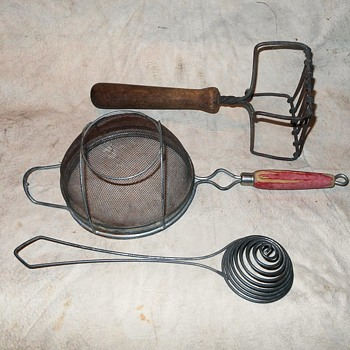Vintage Kitchen Utensils Strainer Whisker And Potato Masher - Kitchen