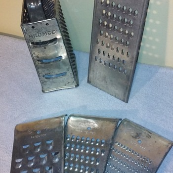 five old tin kitchen grater/slicer utensils - Kitchen