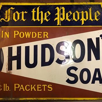 Antique Porcelain Hudson's Soap Advertising Sign - Signs
