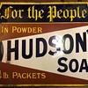 Antique Porcelain Hudson's Soap Advertising Sign