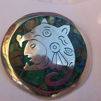 Taxco sterling brooch with stone inlays  inspired by Codex Zouche-Nuttall - Fine Jewelry