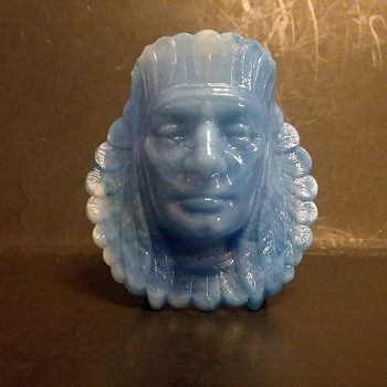 Boyd's Crystal Art Glass Indian head toothpick  - Art Glass