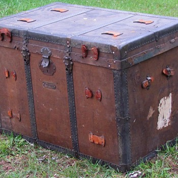 "1880's  34"" French Canadian - George Barrington & Sons Montreal- Flat Top Trunk  - Furniture"