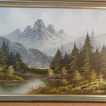 Mountain, River and Forest Landscape oil painting - signed ANDERSON - Fine Art