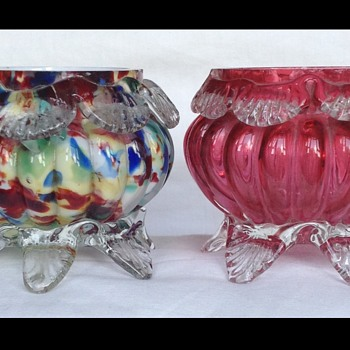 Two Welz open salts - Art Glass
