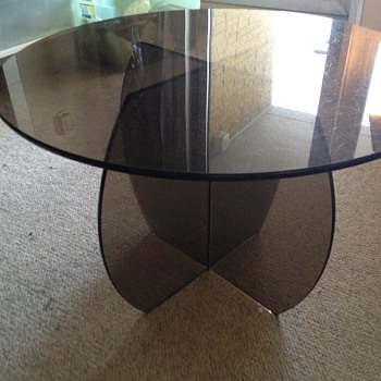 Pair of Smoked Glass End Tables.  Any guess on the age of them?? - Furniture