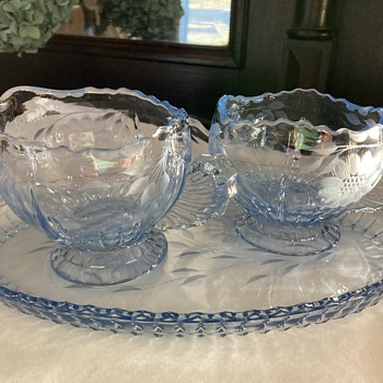 Light Blue glass Etched Cornflower pattern cream and sugar set  - Glassware