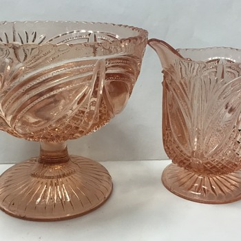 Pink Pressed Glass Sugar Bowl and Jug - Glassware