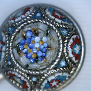 Micro Mosaic Silver Stick pin - Fine Jewelry