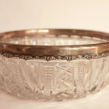 Lead Crystal Bowl with Sterling Silver Rim (American Brilliant Cut Glass)