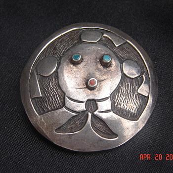 Native American Silver Brooch - Native American