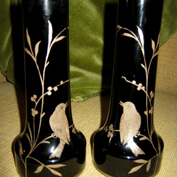 KRALIK BLACK/AMETHYST PAIR OF VASES - Art Nouveau