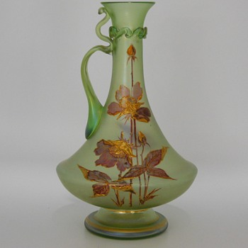 EARLY LOETZ OLYMPIA GLATT, Enameled flowers(Poppy's) EWER, Series 1, PN 6649, Circa 1890-98 - Art Glass