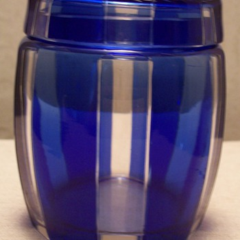 pretty cut to blue jar - Art Glass