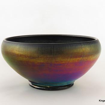 Diamond Glass Egyptian Lustre Cupped Bowl ca. 1920s - Glassware