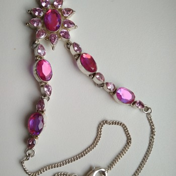 Silver necklace with interesting glass / stones - Fine Jewelry