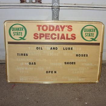 quaker state oil sign - Petroliana