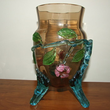 Harrach Bronzed Glass Vase with Applied Flowers & Blue Feet - Art Glass