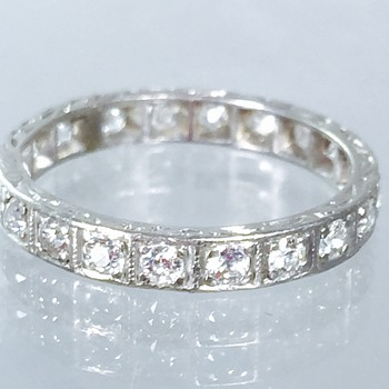 Art Deco Diamond Etched Platinum Eternity Ring  - Art Deco