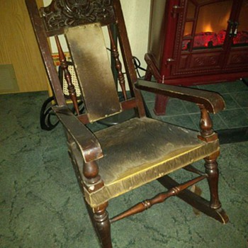 Old animal hide rocker - Furniture