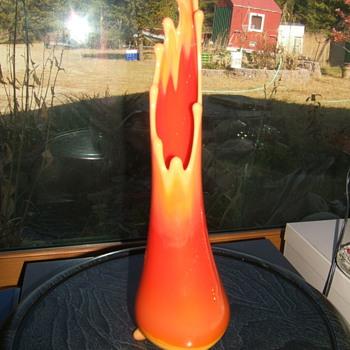 orange molded and blown slag glass vase - Art Glass