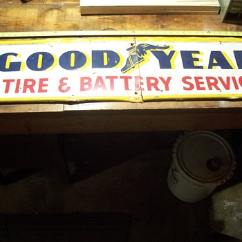 1955 Goodyear tire and battery service sign - Advertising