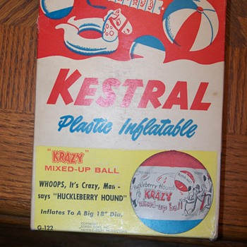 "Kestral plastic inflatable ""krazy"" mixed-up ball huckleberry hound"