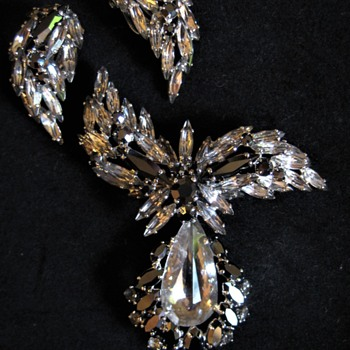 Silver and Hematite Navettes in SHERMAN Set - Costume Jewelry