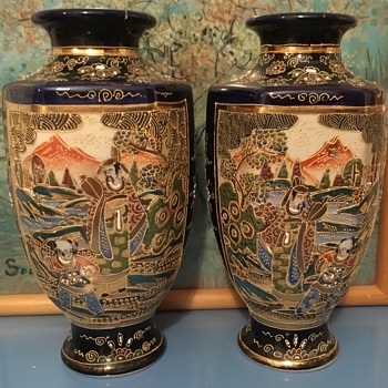 Japanese Satsuma Moriage Pair of Oriental Vases - Asian