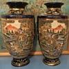 Japanese Satsuma Moriage Pair of Oriental Vases