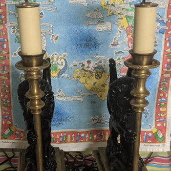 Two brass lamps. - Lamps